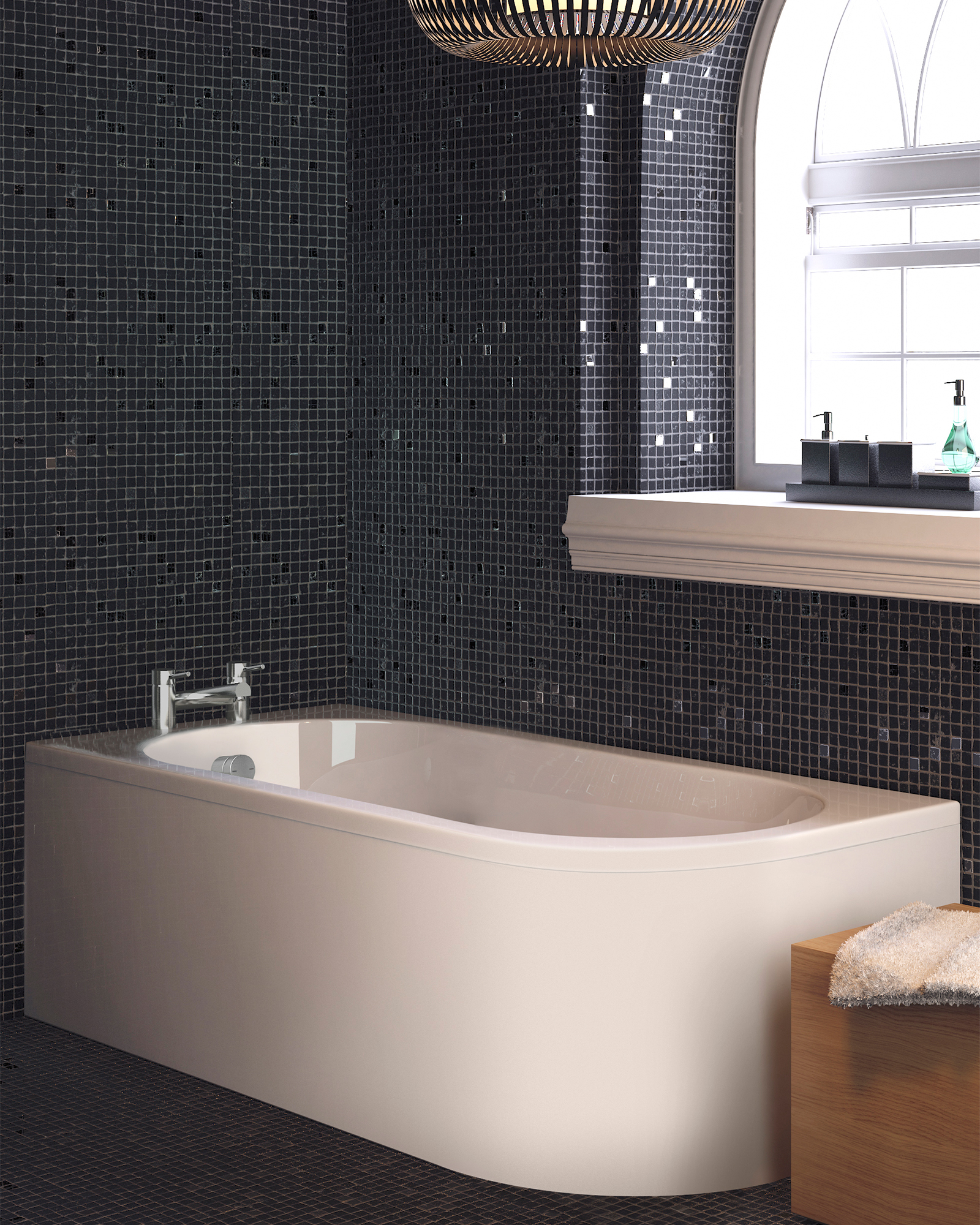 Crescent Back To Wall Bath & Panel