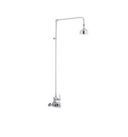 Edwardian Twin Exposed Thermostatic Shower Valve & Rigid Riser Kit